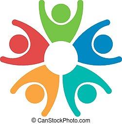 Teamwork 5 Personen Gruppenlogo.