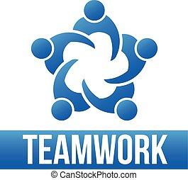 Teamwork. 5 Personen Logo