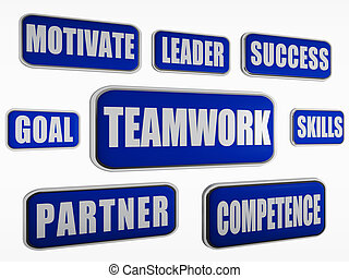 Teamwork - Blue Business Konzept.
