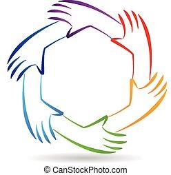 Teamwork Einheit Hände Logo Identität.