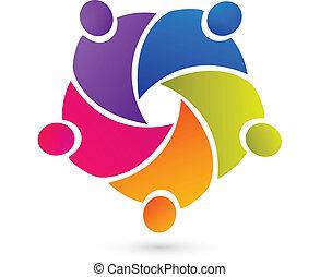 Teamwork Gewerkschaft Leute Logo Vektor.