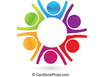 Teamwork Happy Business People Logo.