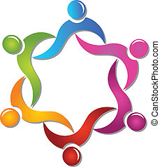 Teamwork hilft Leuten beim Logovektor