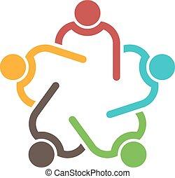 Teamwork Konferenz Gruppe von 5 Personen.