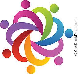 Teamwork-Leute helfen Logo