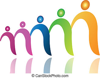 Teamwork-Leute in Datei-Logo-Vektor.