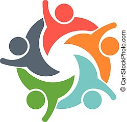 Teamwork-Leute-Logo. Bild von fünf Personen