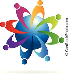 Teamwork-Leute mit globalem Kommunikationsvektor.