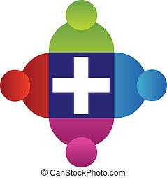 Teamwork-Leute mit Kreuz-Logo