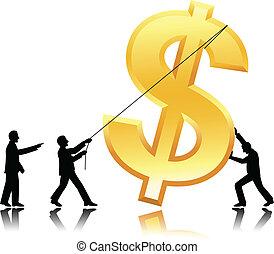 Teamwork mit Dollarwährung