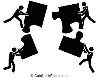 Teamwork mit Puzzle
