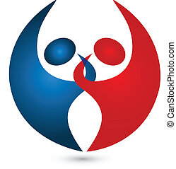 Teamwork-Paar hat ein Logo