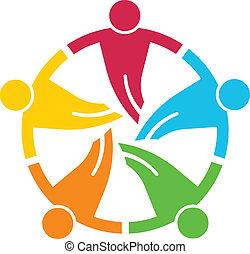 Teamwork rund. Gruppe von 5 Personen V