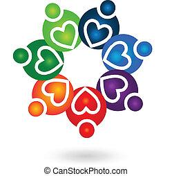 Teamwork Solidarität Menschen Logo.