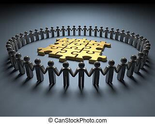 Teamwork und Puzzle