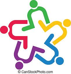 Teamwork unterstützt das Logo von Leuten.
