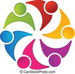 Teamwork vereinte Menschen Logo.