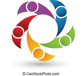 Teamwork von 5 Personen Logo Vektor.
