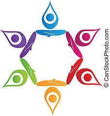 Teamwork Yoga-Leute-Logo-Vektor