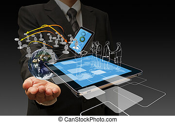 technologie, geschäftsmänner, hand