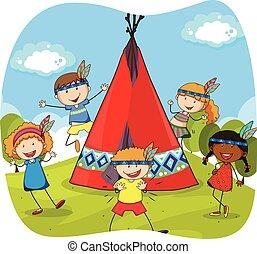 teepee, indianer, kinder, spielen