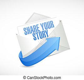 Teilen Sie Ihre Story Mail Illustration Design.