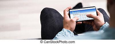 telefon, beweglich, vermessung, rückkopplung, online