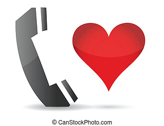 telefon, design, abbildung, herz