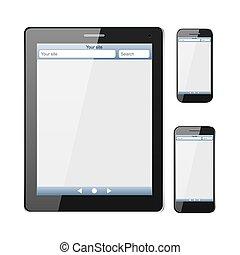 Telefon, mit Internet-Browser-Fenster auf dem Bildschirm.