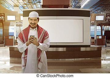 telefon, moslem, asiatisch, besitz, mann