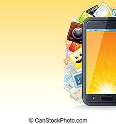 telefon, poster., klug, abbildung, apps