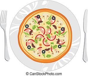 tellergericht, köstlich , pizza