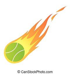 Tennisball in Feuer.