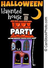 terrorisiert, karikatur, feiertag, design, halloween, haus