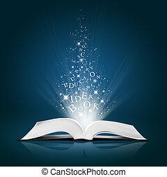 Textidee auf offenem weißem Buch