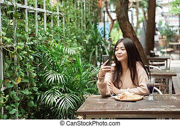 texting, café, rufen frau, beweglich