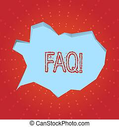 Textzeichen mit Faq. Konzept-Foto Frequently stellte Frage zur Klärung von Verwirrungen.