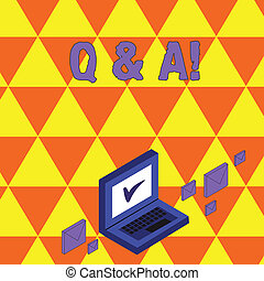 Textzeichen mit Q und A. Konzept-Foto definiert als Fragen gestellt werden und beantwortet Farb-Mail-Umschläge rund um Laptop mit Check-Mark-Icon auf Monitor-Bildschirm.