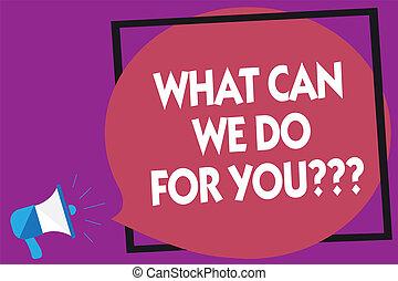 Textzeichen, was können wir für Sie Frage-Fragen tun. Konzept-Foto wie kann ich helfen Megaphone Lautsprecher laut schreiend lila Hintergrund-Frame Rede Blase helfen.