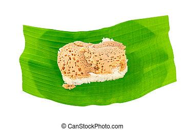 thailändisch, klebriger reis, eiercreme, kokosnuss, creme