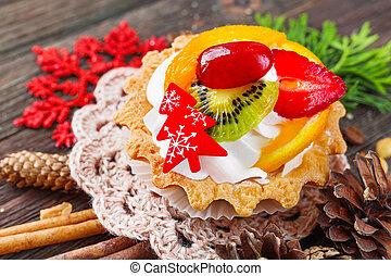 thuja, orange, zimt, schmackhaft, erdbeer, jahr, peanuts., anis, winter, pfirsich, cones., -, kiefer, rustic, dekorationen, neu , schneeflocke, feiertag, weihnachten, rotes , torte, nachtisch, fruechte, hintergrund, kiwi, cream., gepeitscht, gewürz