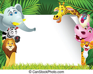 Tier-Karikatur mit leerem Zeichen