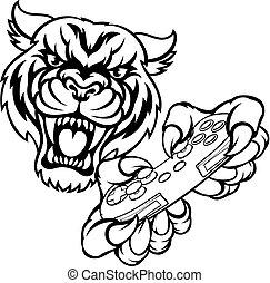 Tiger-Spieler-Maskottchen.