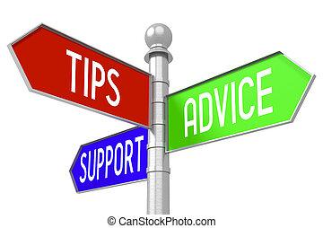 Tipps, Ratschläge, Unterstützung - bunte Wegweiser.