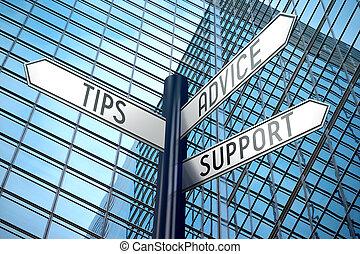 Tipps, Ratschläge, Unterstützung - Kreuzungsschild, Bürogebäude.