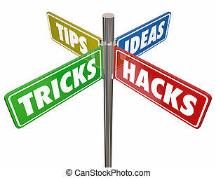 Tipps Tricks Ideen hacken 4 Weg Zeichen 3d Illustration.