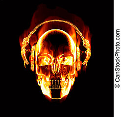Tolles Bild von brennendem Schädel mit Kopfhörern