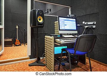 tonaufnahme, studio, interior.