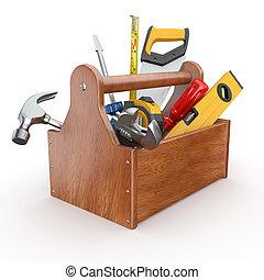 tools., hammer, maulschlüssel, skrewdriver, werkzeugkasten, handsäge