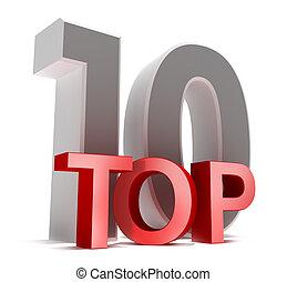 Top 10. 3D-Konzept, isoliert